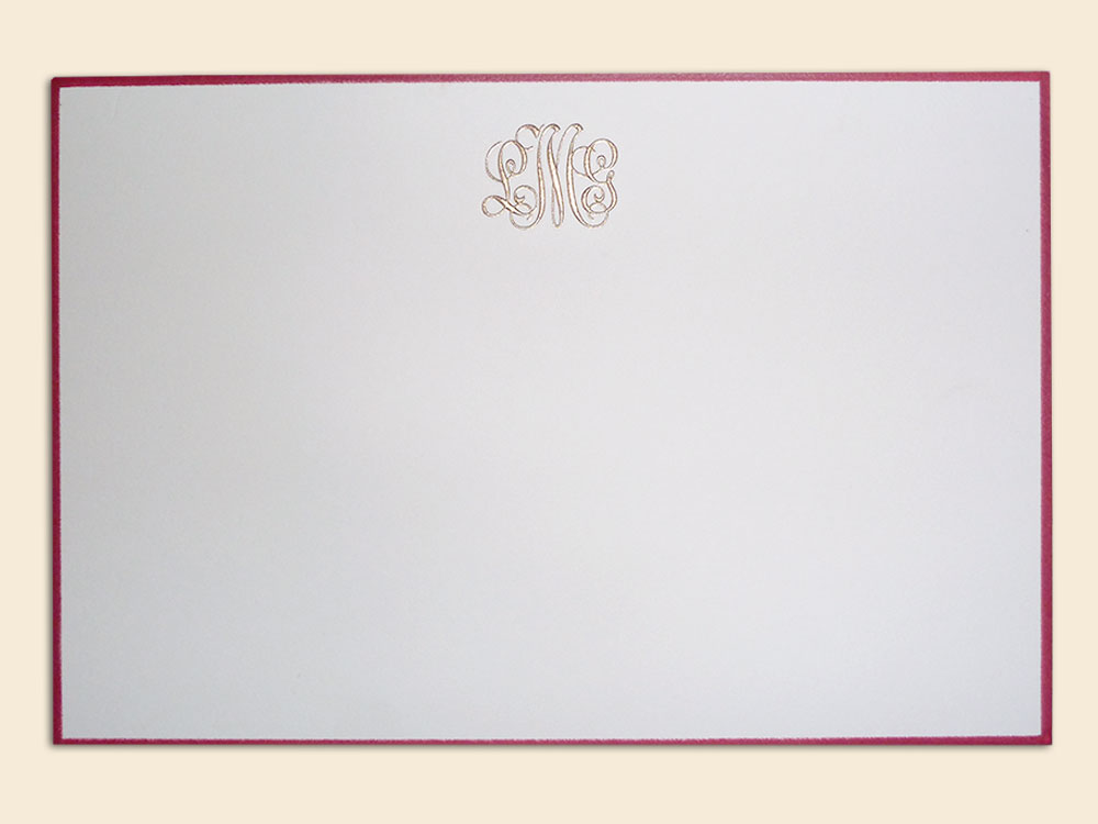 Card with monogram and contrasting border