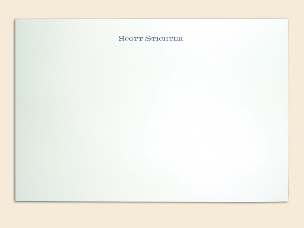 Standard one-line engraved correspondence card